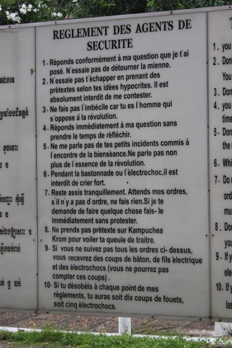 Les règles que devaient suivre les détenus